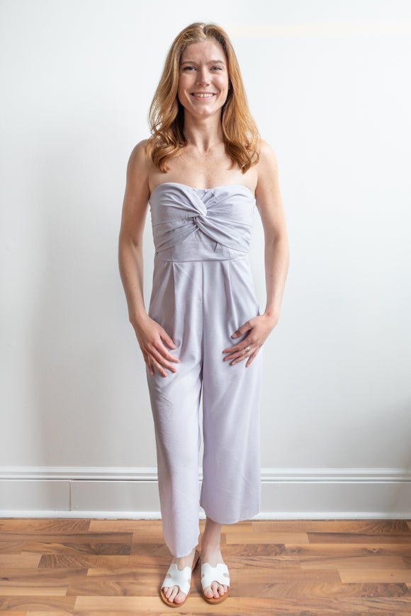 Adalee Striped Jumpsuit - White and Lavender - FINAL SALE