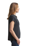 Adiya Button Up Short Sleeve Blouse - Black