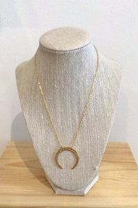 Little Gold Horn Moon Necklace