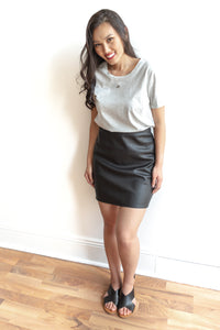 Bao Faux Leather Skirt - Black