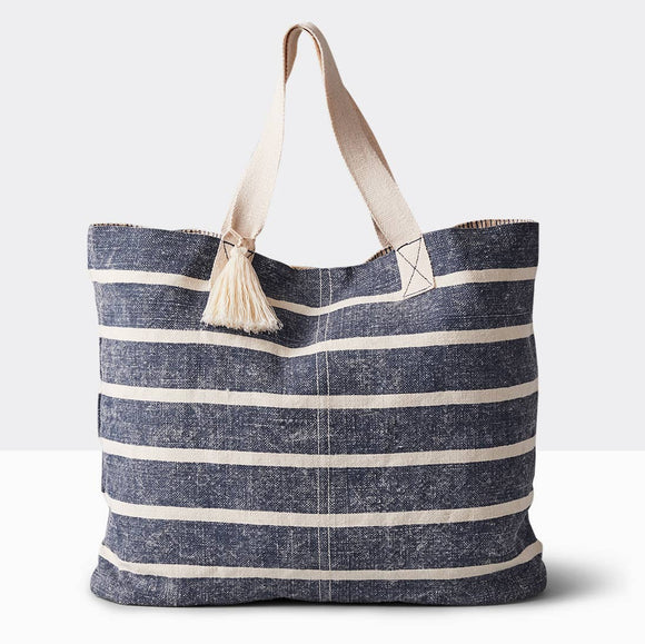 Linen Washed Striped Tote - Denim Blue