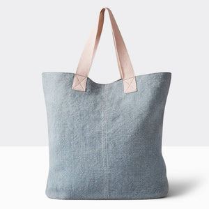 Linen Washed Tote - Slate Blue