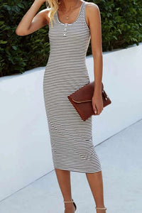 Brea Striped Dress - Black and White
