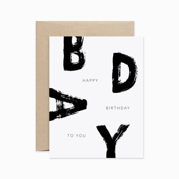 Card - Happy Birthday in Brush