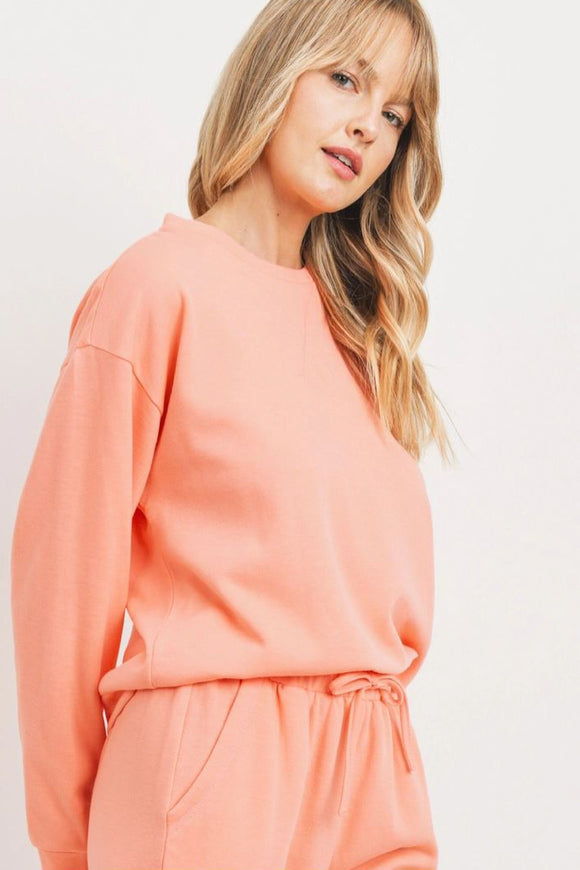 Melody Fleece Long Sleeve Top - Coral