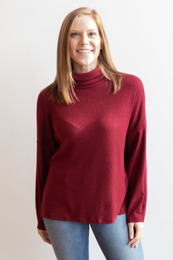 Emmeline Mock Neck Long Sleeve Top - Burgundy