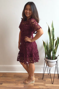 Charlotte Burgundy Lace Dress (Size S, M)