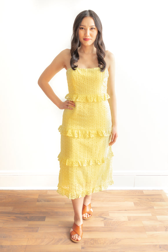 Gabriela Eyelet Midi Dress - Yellow (Size S, L)