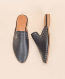 Gabriella Mule - Black with Silver Studs