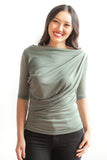 Kayla  Draped Top - Sage Green