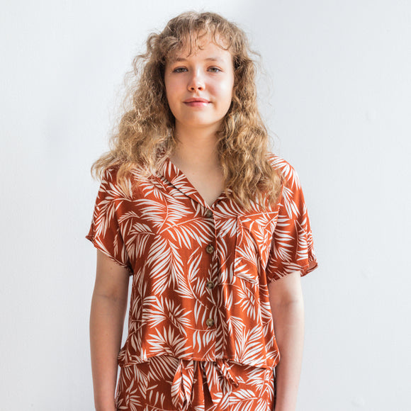 Hiromi Leaf Print Button Down Short Sleeve Top - Rust Orange - FINAL SALE