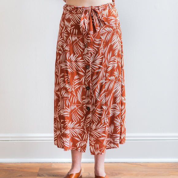 Hiromi Leaf Print Maxi Skirt - Rust Orange - FINAL SALE
