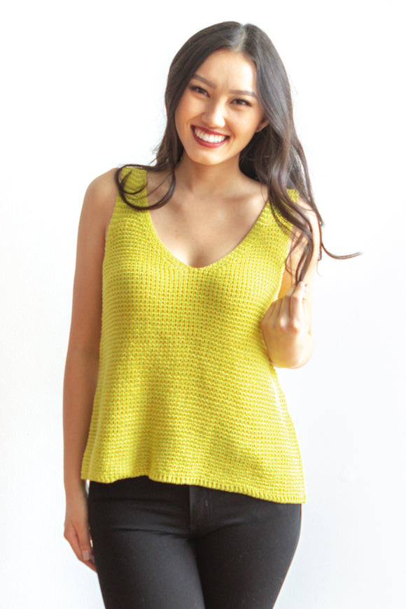 Jamie Knit Tank - Lime Green - FINAL SALE