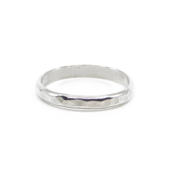 Thick Hammered Stacking Ring - Silver
