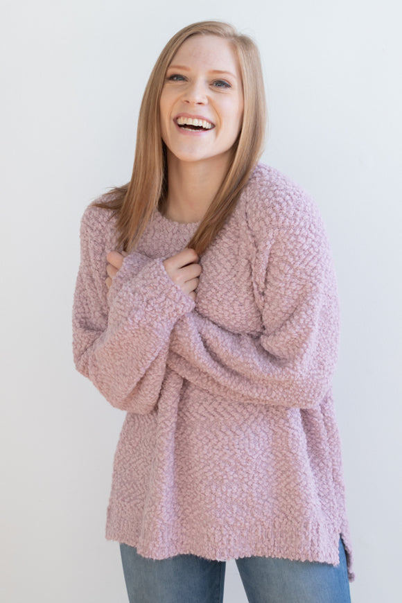 Lavender Oversized Popcorn Sweater