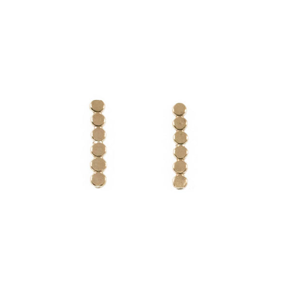 Long Dot Bar Stud Earrings
