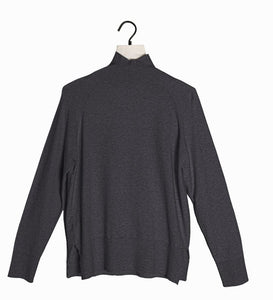 Pauline Classic Mock Neck Long Sleeve Top - Charcoal Gray