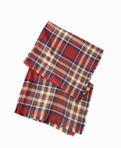 Scarf - Plaid - Red, Navy, Beige