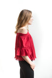 Priyal Off Shoulder Boho Top - Red