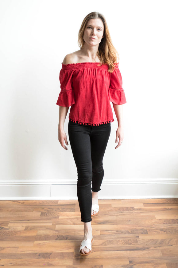 Priyal Off Shoulder Boho Top - Red - FINAL SALE