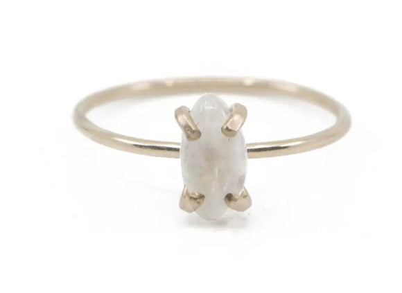 Rainbow Moonstone Marquise Cut Ring - Gold