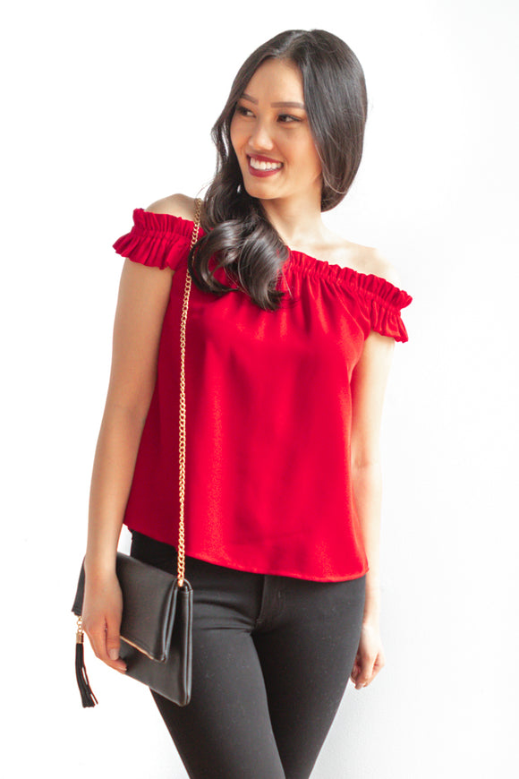 Shayna Off Shoulder Top - Red