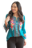 Sonny Boho Floral Top - Turquoise - FINAL SALE