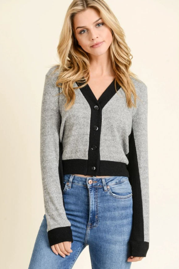Amanda Cardigan - Grey and Black