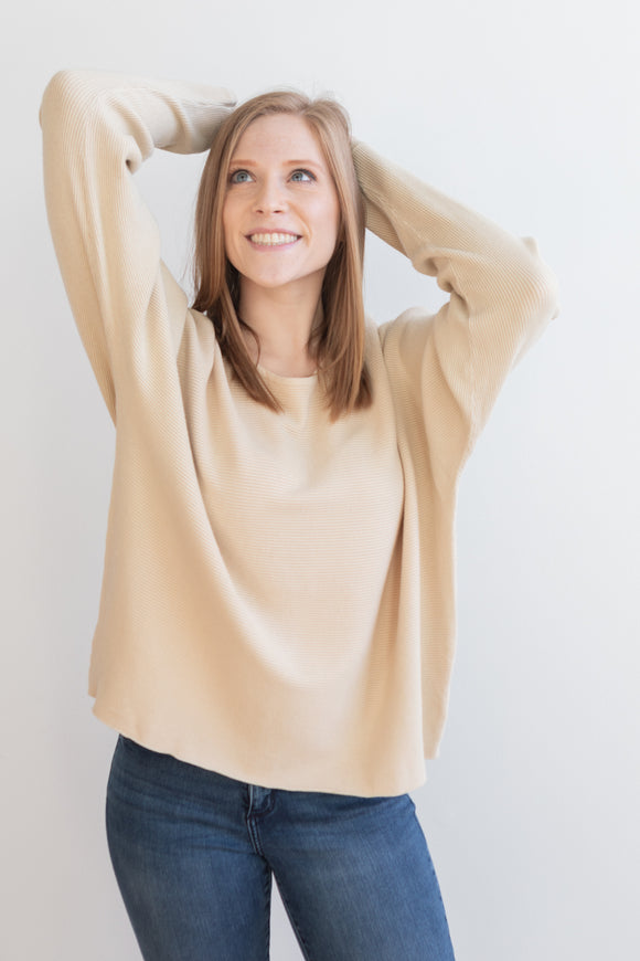 Tessa Ribbed Sweater - Deep Pine or Ivory