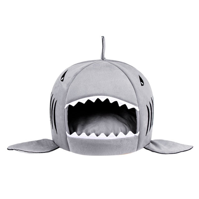 Shark Pet House with Removable Bed Cushion