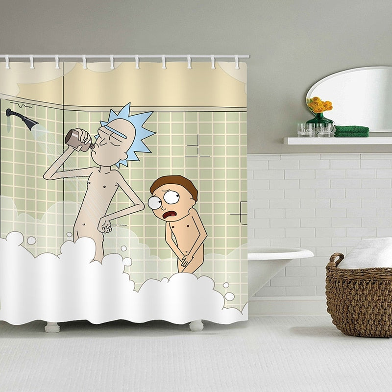Rick and Morty Funny SHOWER CURTAIN