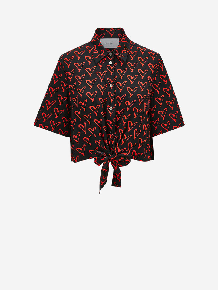 A Million Hearts Front Tie Button Down Shirt