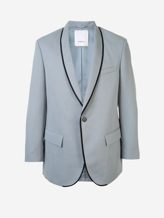 Contrast piped lapel blazer