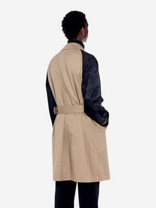 Contrast sleeve trench coat