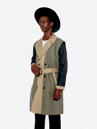 Colourblock check pattern trench coat
