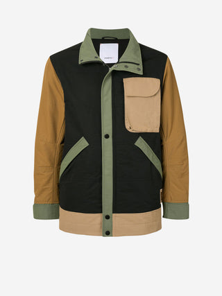 Retro colourblock high collar utility jacket