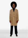 Check pattern wool blend long coat