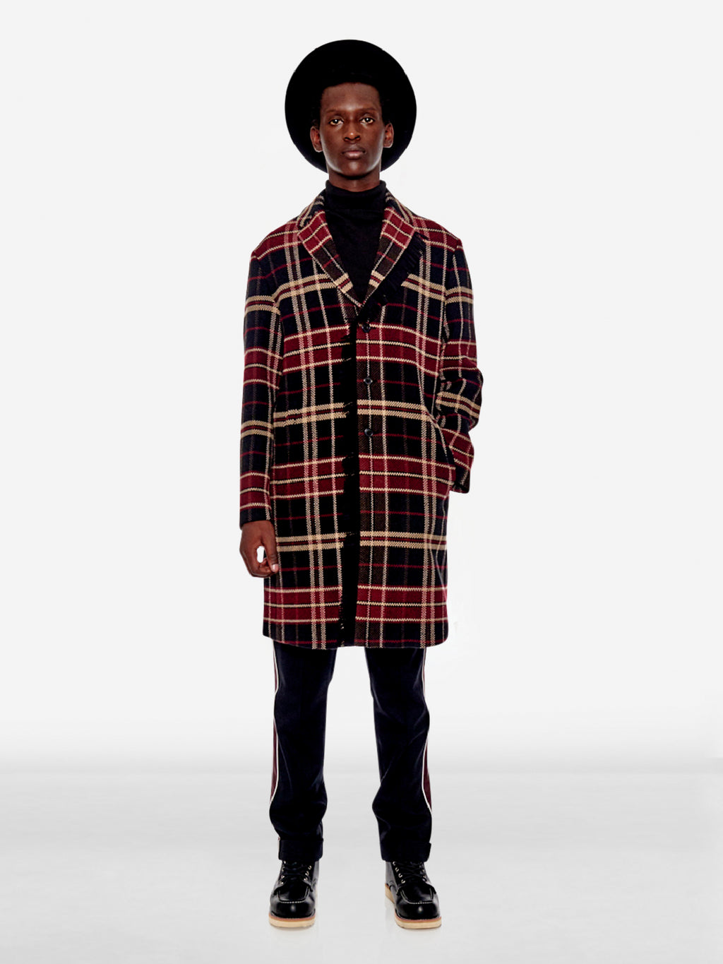 Tartan plaid long wool blend coat