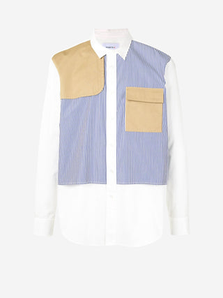 Contrast utility patch stripe shirt