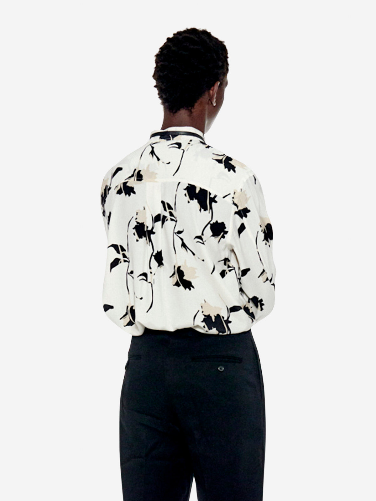 Retro abstract floral print shirt