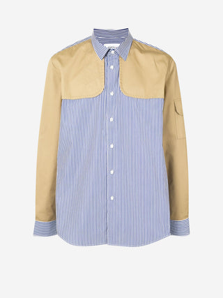 Contrast pinstripe utility patch shirt