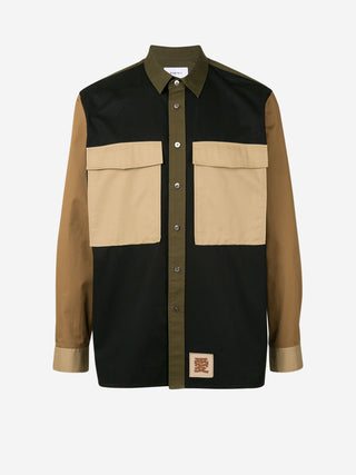 'LOVE' letter retro colourblock utility shirt