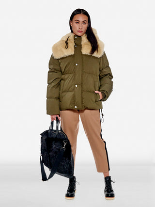 Faux fur trim puffer down jacket