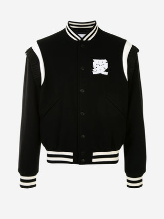'LOVE' fringe sporty stripe wool varsity jacket
