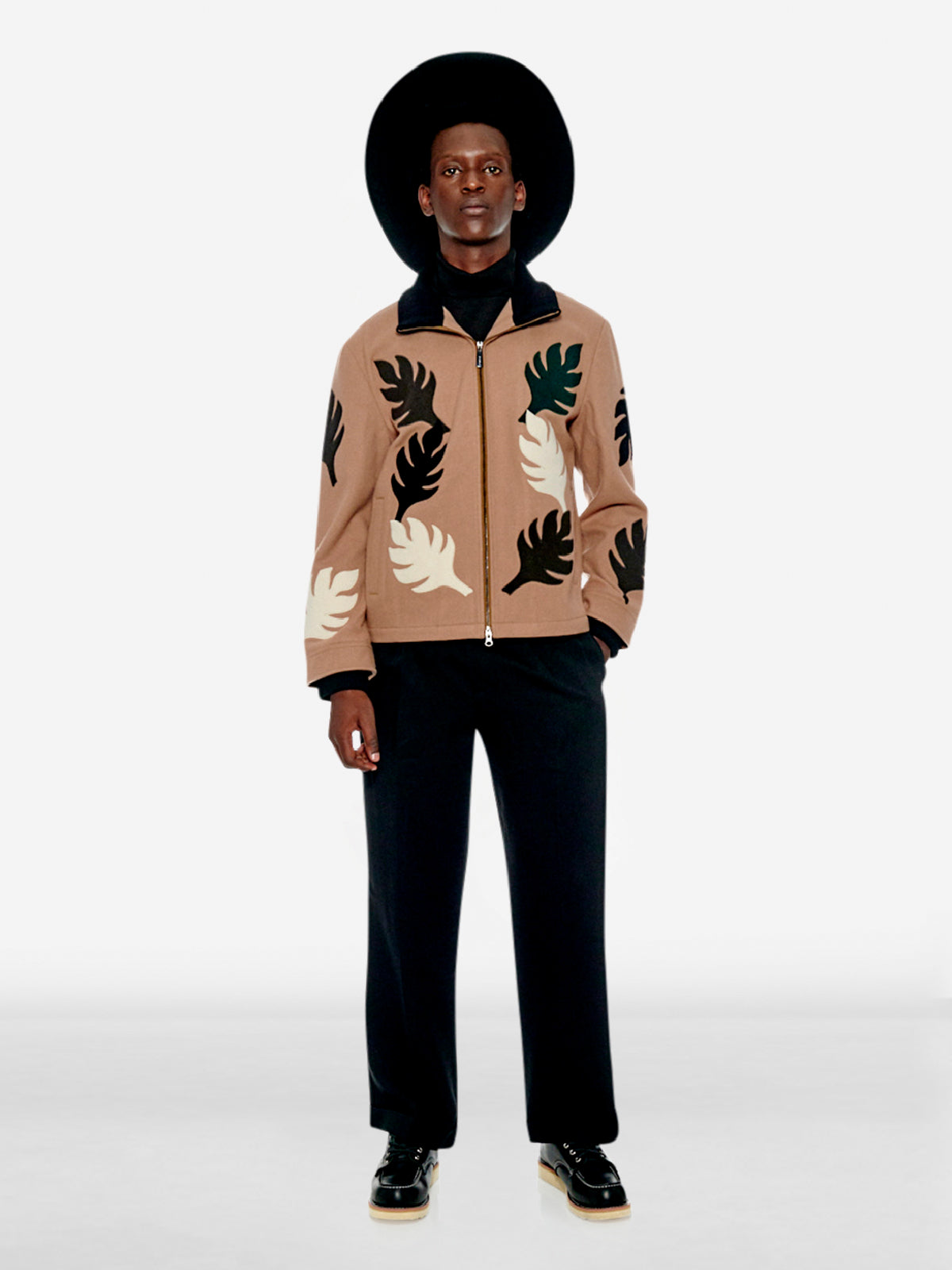 Post-Impressionist art leaf bomber jacket