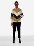 Colourblock chevron V bomber jacket