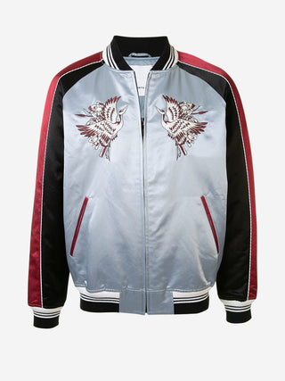 Two-toned sleeve flying phoenix bomber jacket