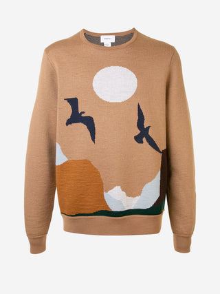 Flying bird sunset Merino Wool sweater