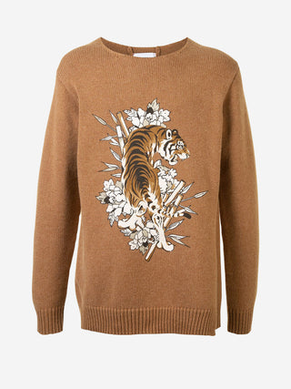 Roaring tiger floral Merino Wool sweater