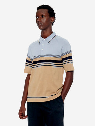 Retro sporty stripe knit polo shirt